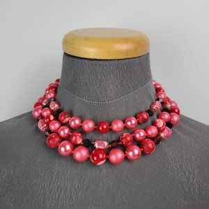 Vintage Coro Red Pink Beaded Choker Necklace
